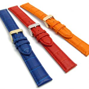 Extra Long XL Leather Watch Strap 18mm-24mm Coloured Padded Croc Grain C013